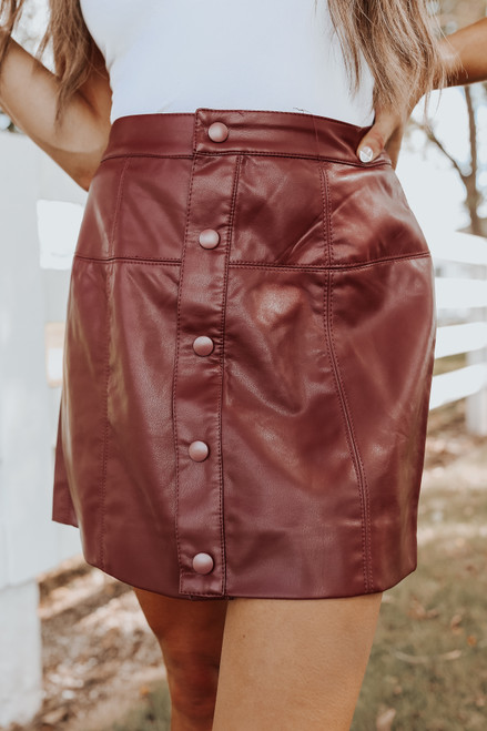 Free People Maisie Vegan Cognac Mini Skirt