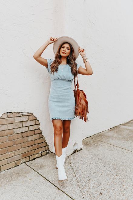 Cap Sleeve Light Wash Vintage Denim Dress