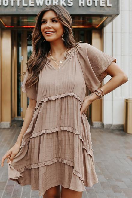 Short Sleeve Mocha Ruffle Tiered Dress