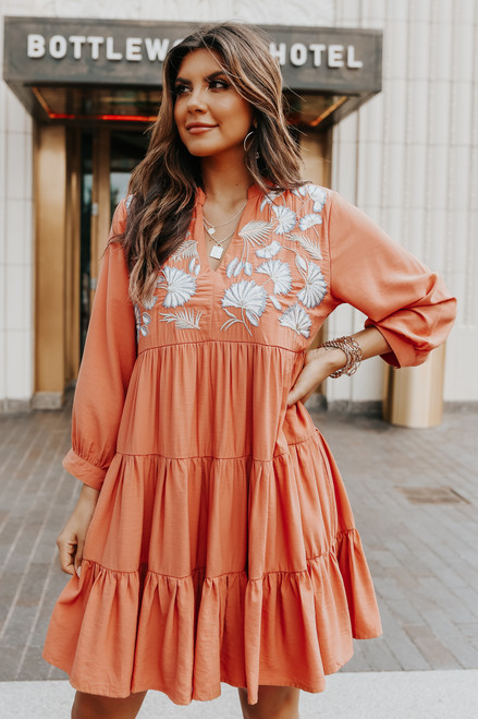 V-Neck Embroidered Terracotta Tiered Dress