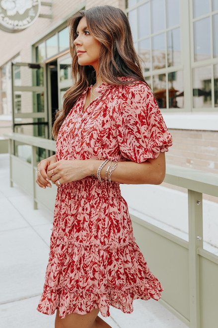 Short Sleeve Tie Detail Printed Tiered Dress