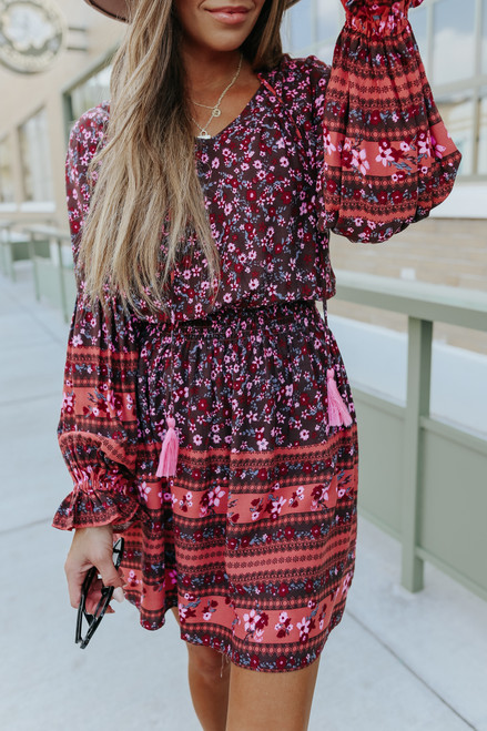 Wild Love Tassel Tie Boho Floral Dress