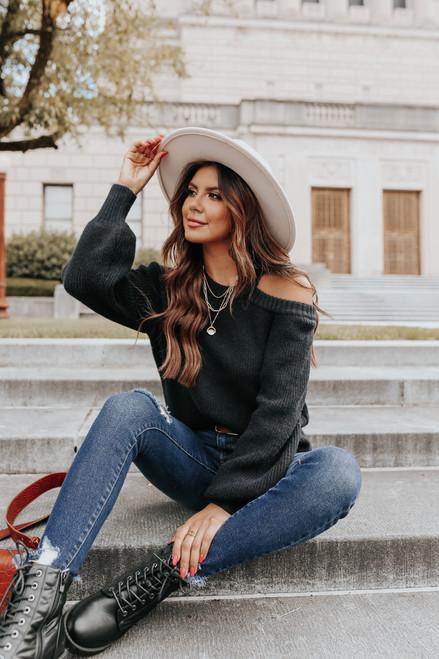 Cold Shoulder Black Cutout Sweater
