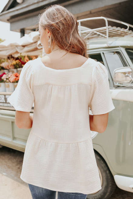 Square Neck Embroidered Peplum Crinkle Top