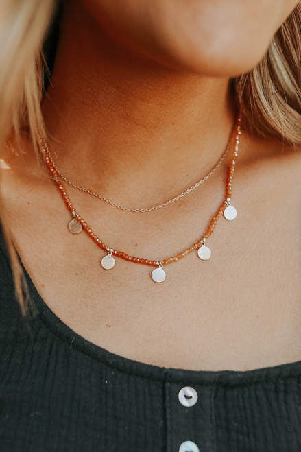 Layered Dotted Peach Beaded Necklace