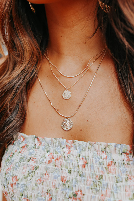 Layered Textured Coin Gold Necklace
