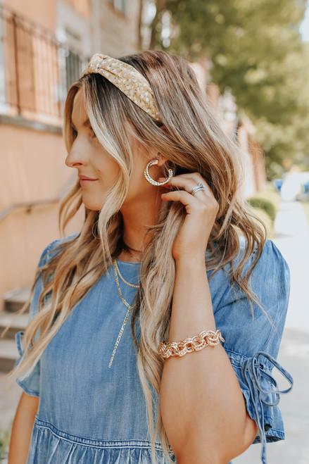 Twisted Double Hoop Gold Earrings
