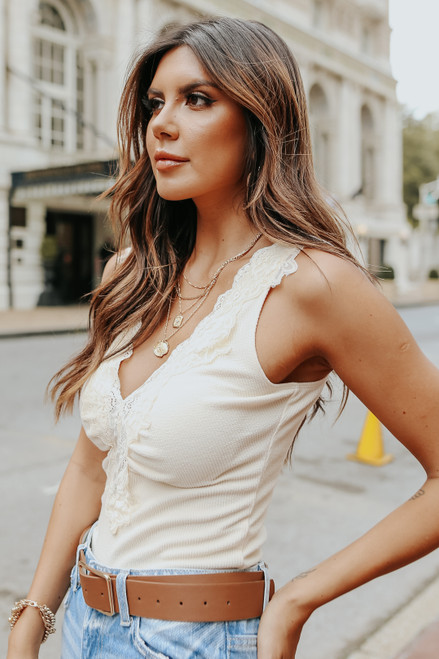 V-Neck Lace Detail Cream Ribbed Bodysuit