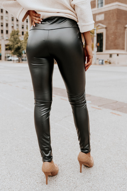Jackpot Faux Leather Black Leggings