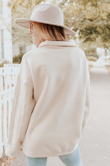 Cable Contrast Natural Half Zip Pullover