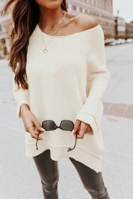 3/4 Sleeve Textured Natural Asymmetrical Sweater