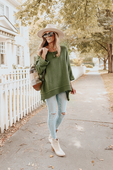 3/4 Sleeve Textured Olive Asymmetrical Sweater