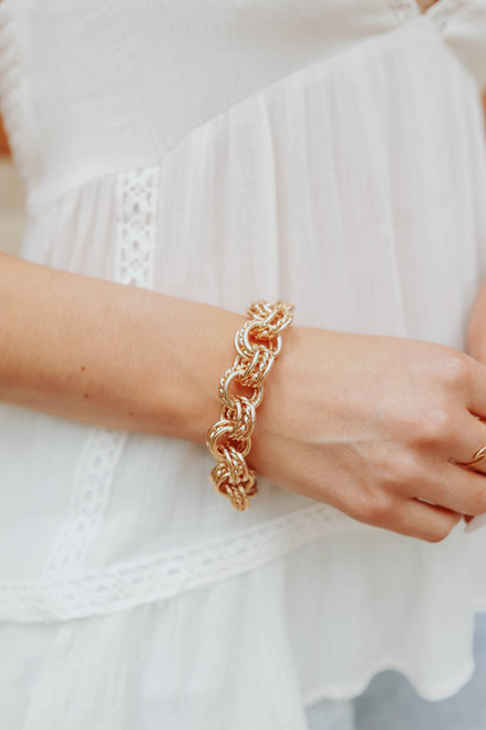 Uptown Gold Linked Metal Bracelet