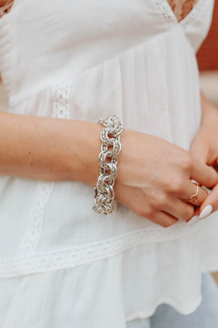 Uptown Silver Linked Metal Bracelet