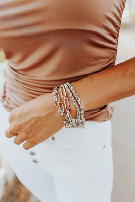 Wrapped Up Mixed Silver Linked Bracelet