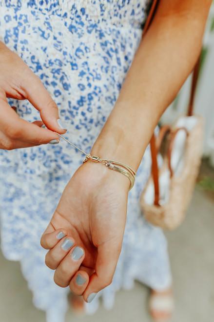 Layered Herringbone Chain Bracelet