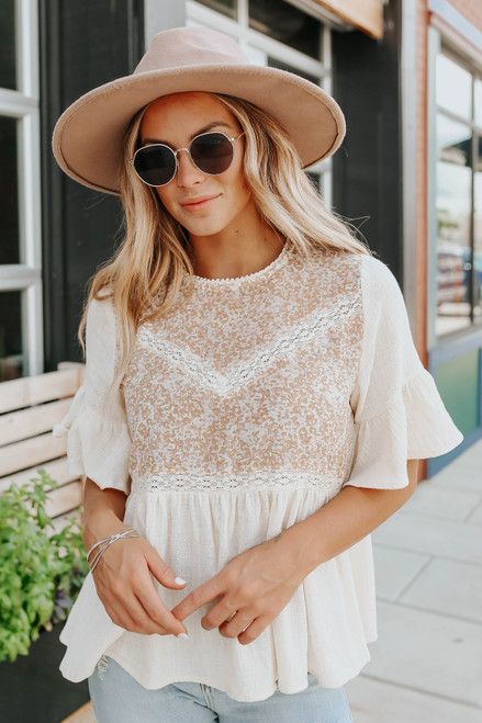Ruffle Sleeve Taupe Contrast Babydoll Top