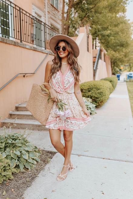 Surplice Peach Floral Tiered Dress