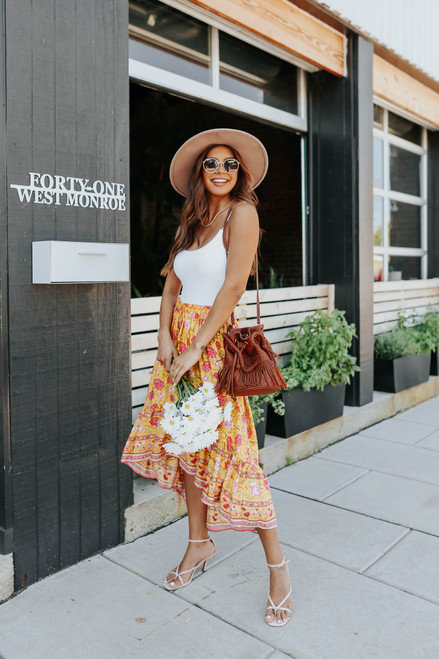 Spanish Countryside High Low Floral Skirt