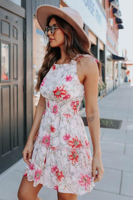 Tie Strap Halter Blush Floral Dress