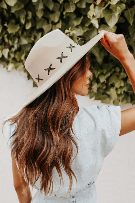 Criss Cross Beige Wide Brim Hat