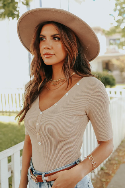 City Adventure Taupe Henley Ribbed Bodysuit