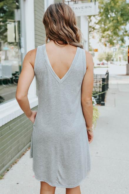 V-Neck Seam Detail Grey Tank Dress