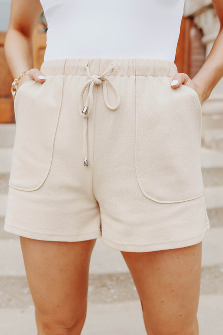 Drawstring Khaki Lounge Shorts