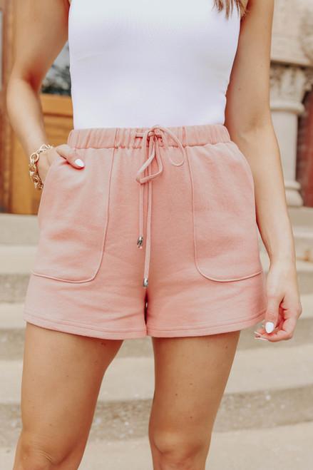 Drawstring Dusty Peach Lounge Shorts