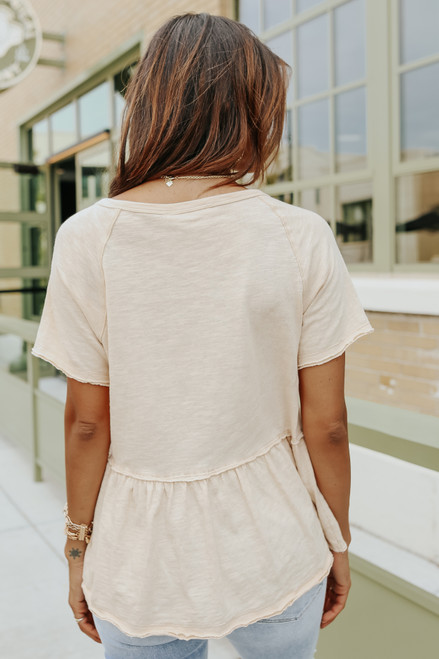 Short Sleeve Vanilla Henley Peplum Top