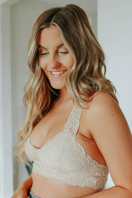 All About Love Taupe Sweetheart Lace Bralette