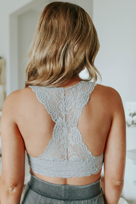 All About Love Grey Sweetheart Lace Bralette