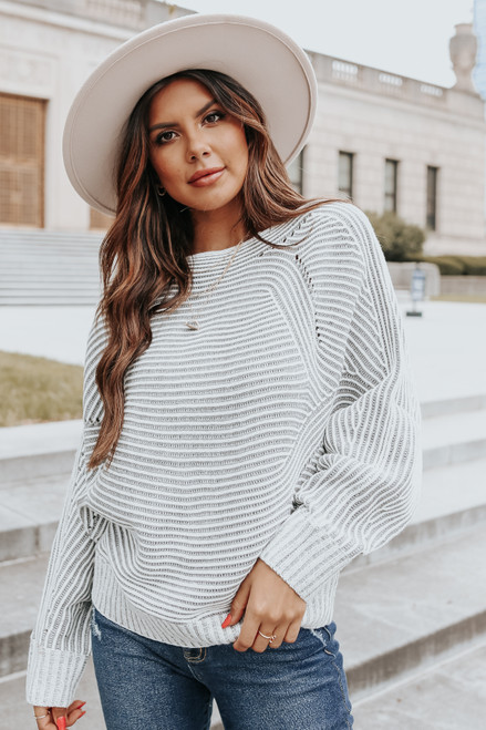 Two Tone Boatneck Charcoal Ribbed Sweater