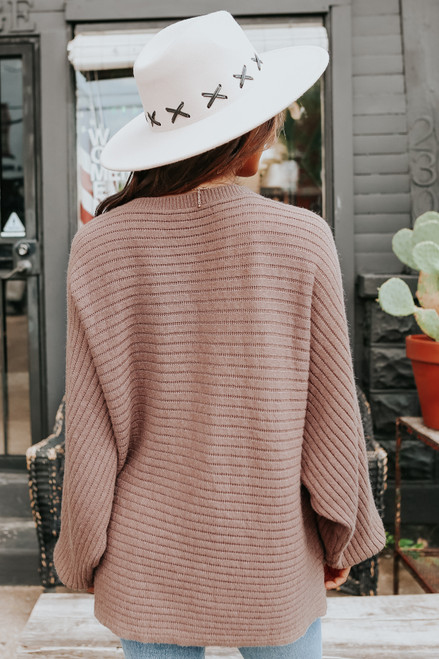 Latte Run Boatneck Mocha Dolman Ribbed Sweater