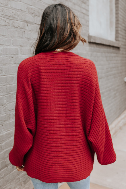 Latte Run Boatneck Wine Dolman Ribbed Sweater