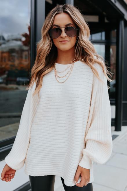 Latte Run Boatneck Cream Dolman Ribbed Sweater