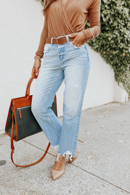 Angie Distressed Light Wash Straight Leg Jeans