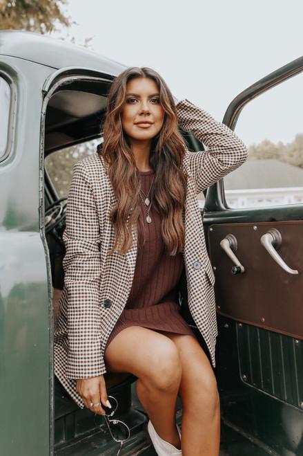 Hawthorne Dolman Brown Ribbed Sweater Dress