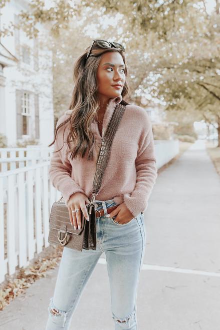 Celestia Fuzzy Blush Half Zip Pullover