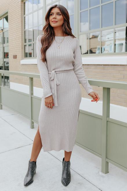 Highland Tie Waist Taupe Ribbed Midi Dress