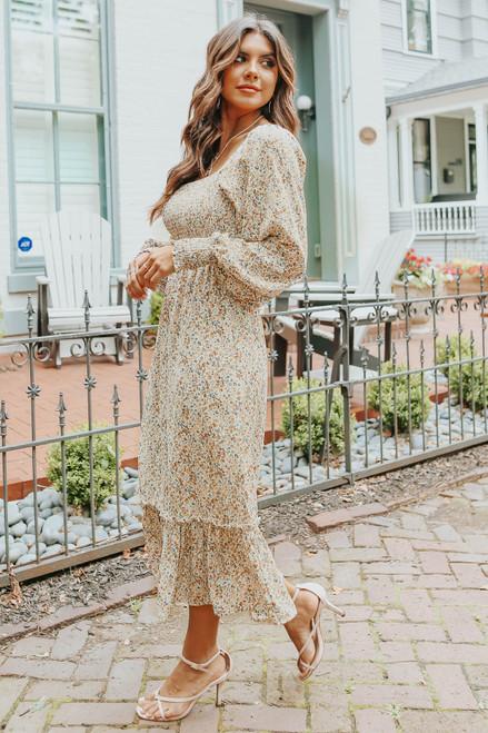 Square Neck Smocked Cream Floral Midi Dress