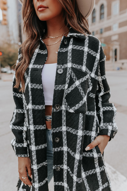 Mod About You Black Plaid Tweed Shacket