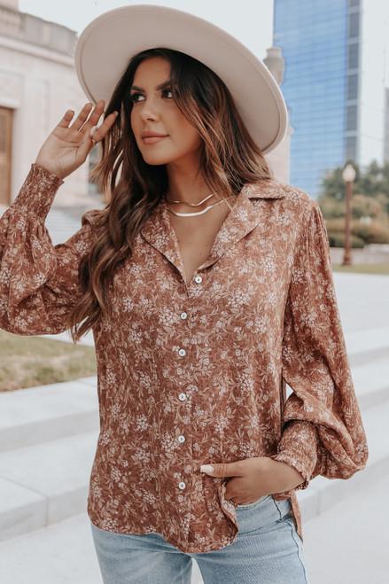 Button Down Rust Floral Shirt