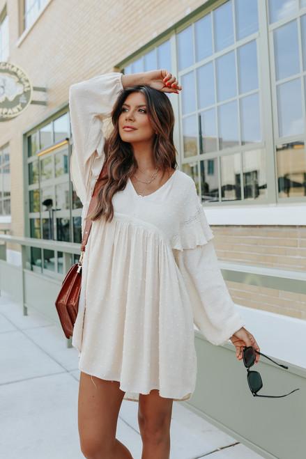 V-Neck Cream Dotted Babydoll Dress