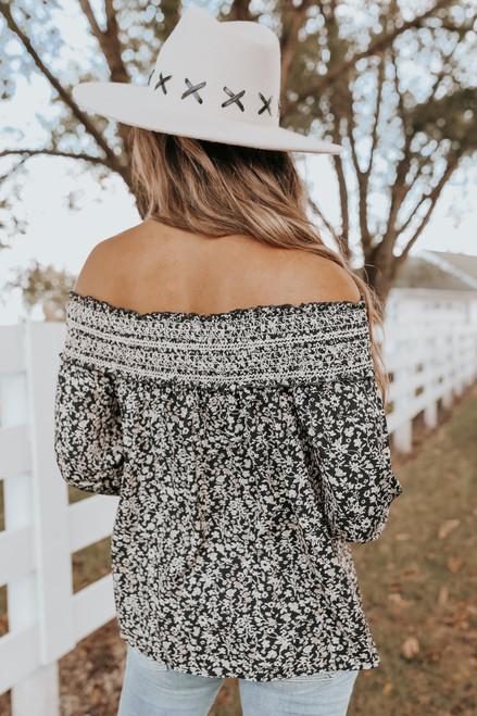 Off the Shoulder Embroidered Black Floral Top