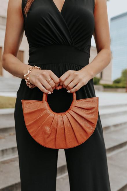 Vegan Leather Tan Half Moon Handbag