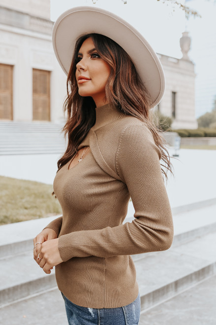 Mock Neck Keyhole Brown Ribbed Sweater