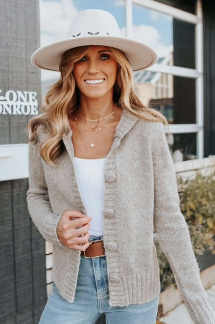 Button Down Latte Hooded Cardigan