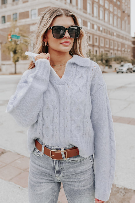 V-Neck Collared Light Blue Cable Sweater