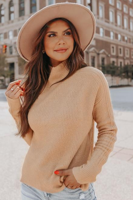 Mock Neck Camel Ribbed Detail Sweater